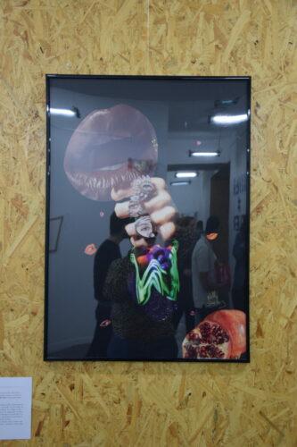 Nelly Sanchez, Triptyque de la Jalousie : Cannibalisme conjugal, 2020, collage (papier glacé sur feuille Canson noire, colle), 50 cm x 70 cm.