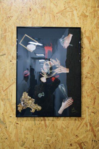 Nelly Sanchez, Triptyque de la Jalousie : Jusqu'à ton dernier souffle, 2020, collage (papier glacé, peinture acrylique sur feuille Canson noire, colle), 50 cm x 70 cm.