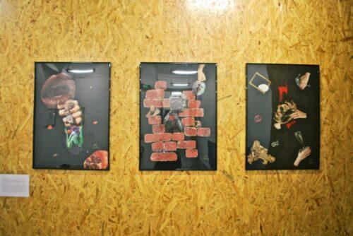 Nelly Sanchez, Triptyque de la Jalousie : Cannibalisme conjugal, 2020, collage (papier glacé sur feuille Canson noire, colle), 50 cm x 70 cm ; C'est parce que je t'aime, 2020, collage (papier glacé, papier à tapisser sur feuille de Canson noire, colle), 50 cm x 70 cm ; Jusqu'à ton dernier souffle, 2020, collage (papier glacé, peinture acrylique sur feuille Canson noire, colle), 50 cm x 70 cm.